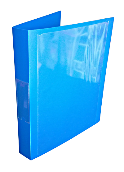 A4 Portrait Blue Polypropylene Ring Binder 25mm capacity 2 D ring with Cover and Spine Pocket