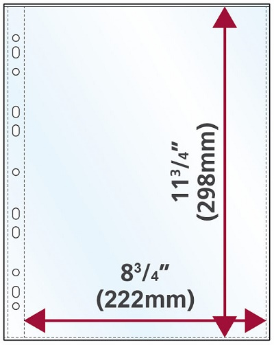 Oversized A4 Portrait 110 micron glass clear punched polypropylene pocket, Pack of 100